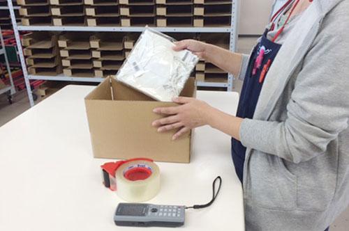 3・出荷は商品サイズに合った梱包資材を弊社でご用意!もちろん検品はハンディ!